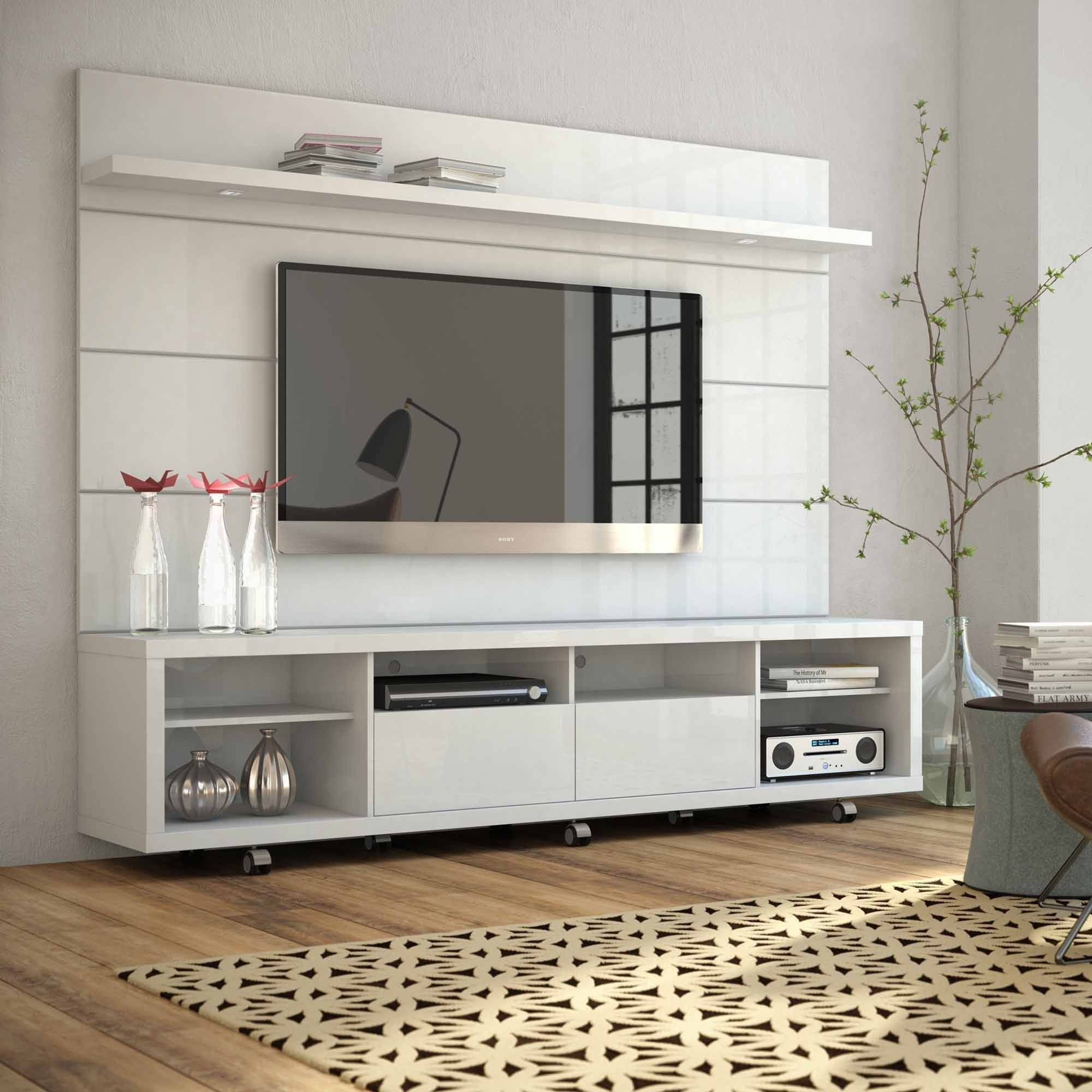 Manhattan Comfort Cabrini Tv Stand And Floating Wall Panel With Led Lights 2 For