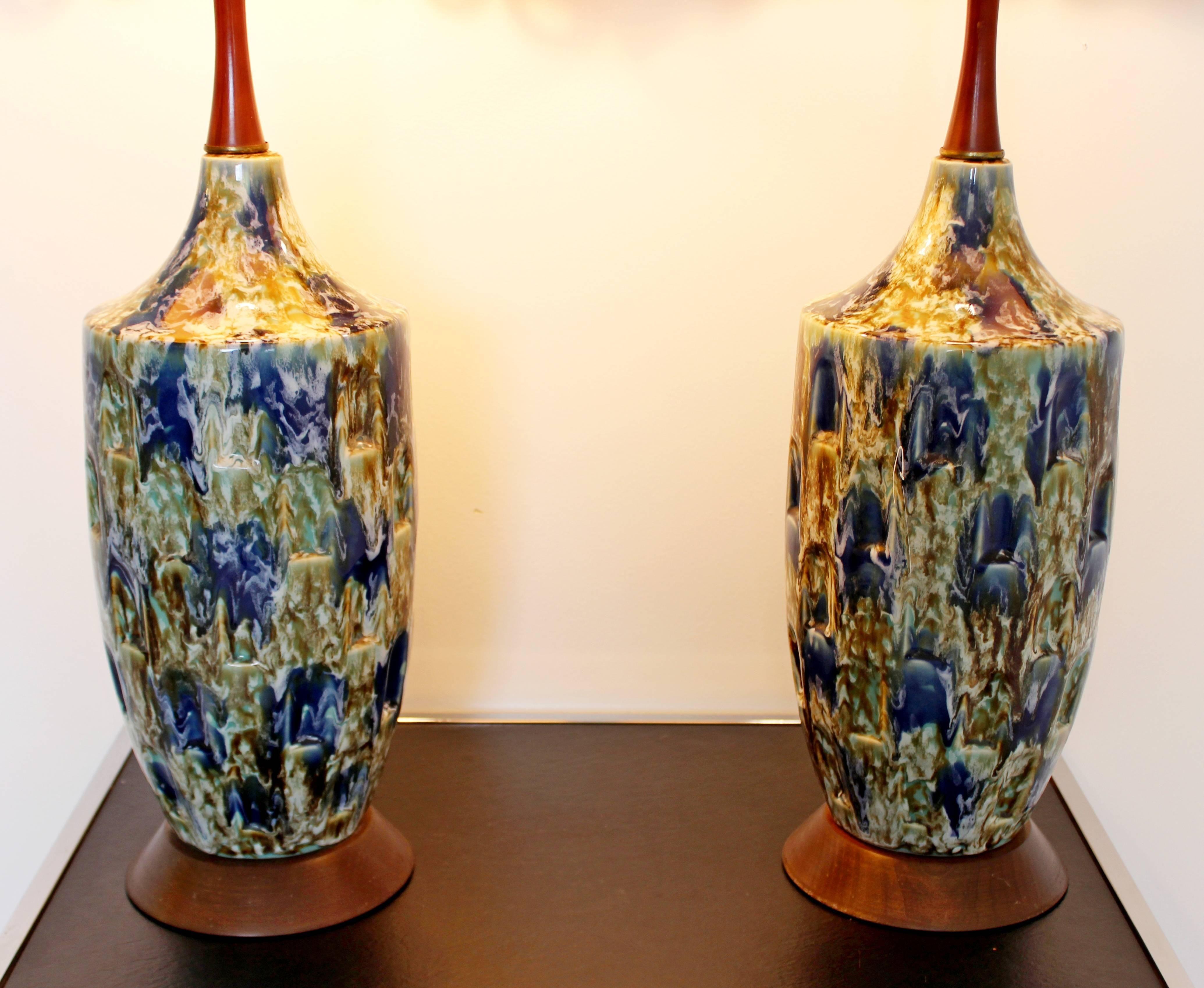 Vintage Mid Century Modern Blue Drip Glaze Ceramic Table Lamp Lighting 1960/'s