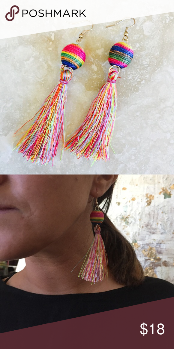 """Les BonBon Wrapped Silk Tassel Multi Color 3"""" Single Bonbon With color Tassel, very bright and beautiful comes other color Tassels as well.                                       ‼️Unless Stated otherwise REASONABLE OFFERS ONLY I may counteroffer once and will not take less. ❤️For guarantee discount ...bundle                             🚫Trade Chic N Unique Jewelry Earrings"""
