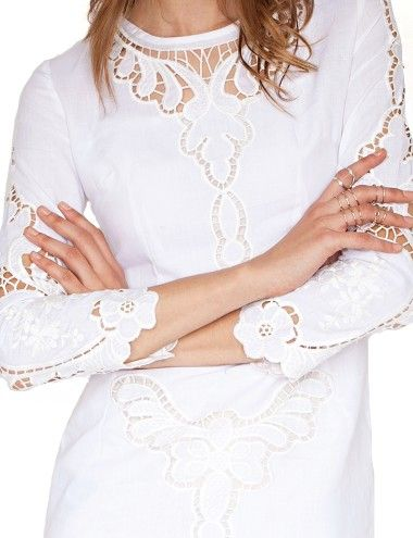 Cute White Lace Dress - Crochet Midi Dress - Ivory Dress