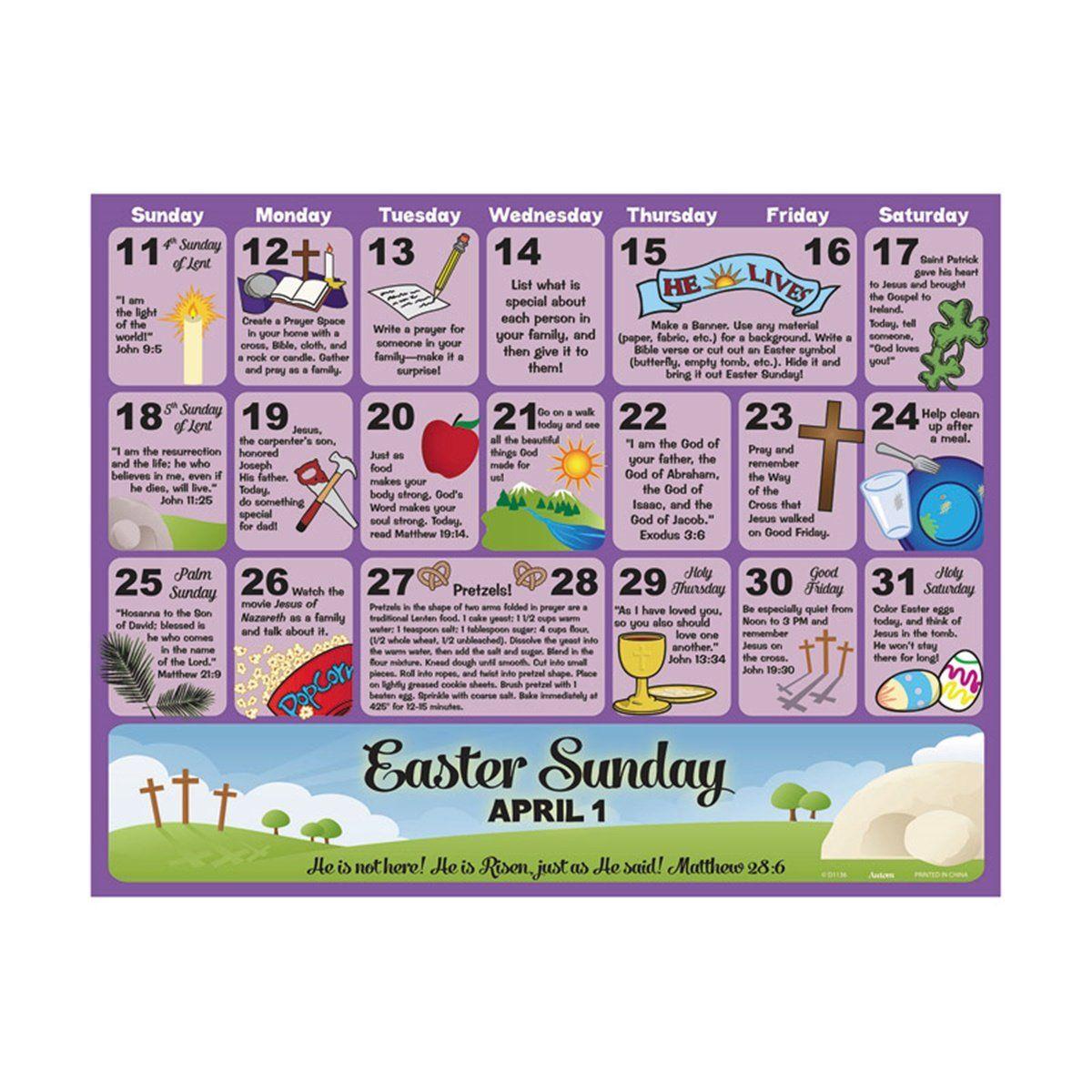 Living Lent Childrens Lenten Activity And Scripture Calendar For