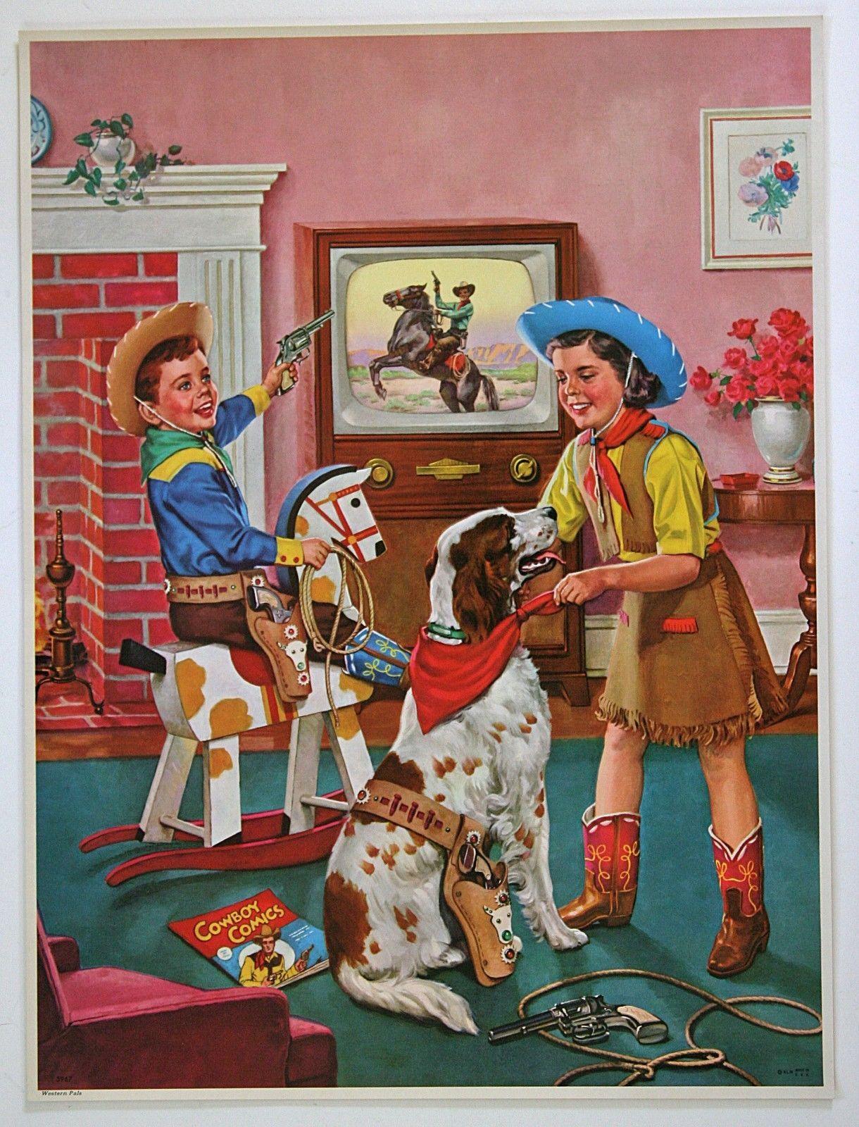Really Big Vintage 1950s Calendar Art Print L'IL Cowboy