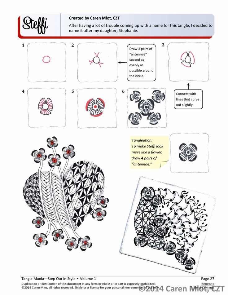 ZENTANGLE® PATTERN E-BOOK - Step Out in Style - Volume 1 - Step-by
