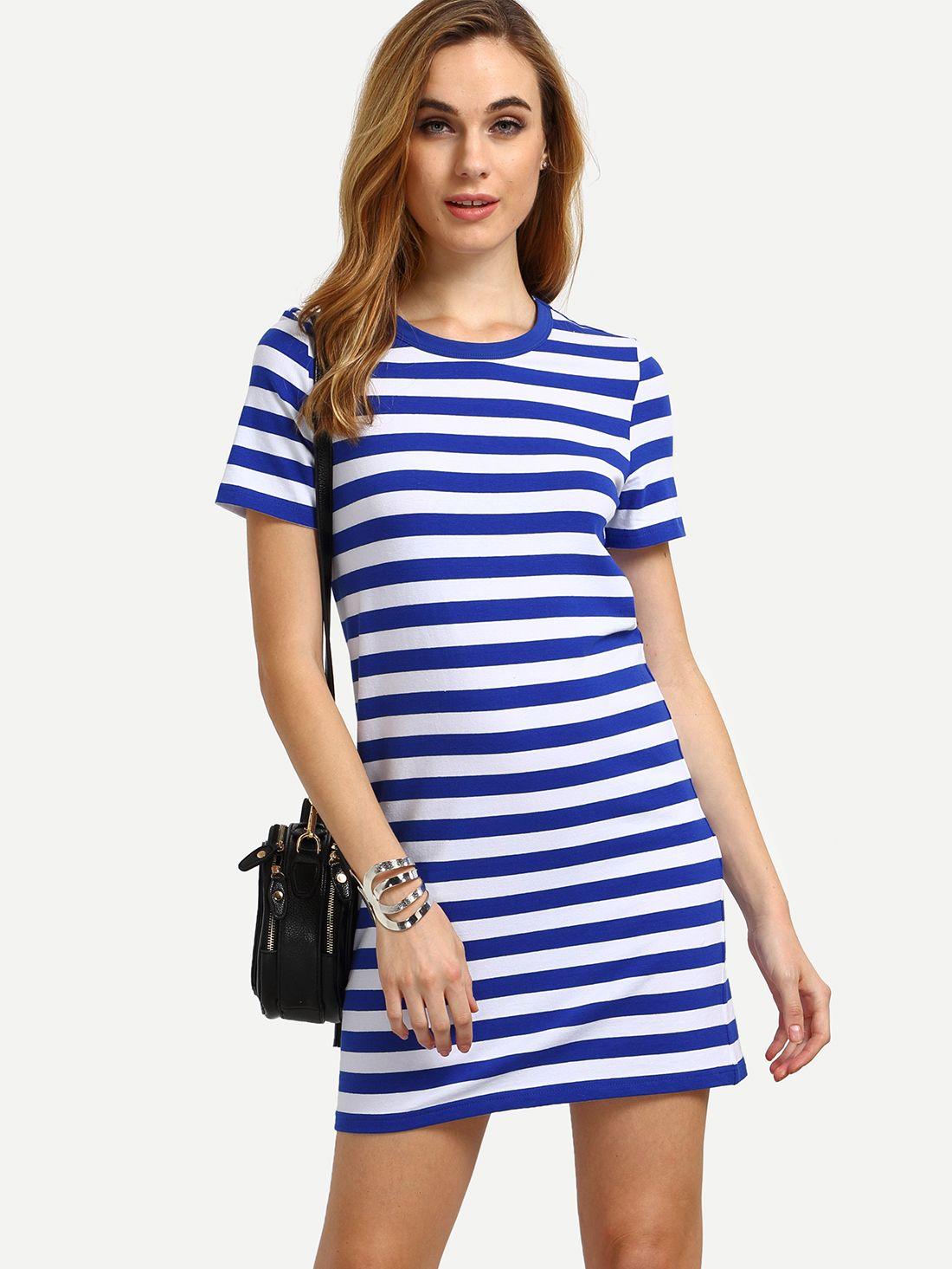 Multicolor Short Sleeve Striped Casual Dress Shein Sheinside Striped Casual Dresses Casual Dress Dresses [ 1465 x 1100 Pixel ]