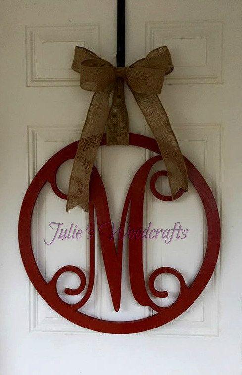 Initial Door Hanger Or Wall Decor Wooden Circle Monogram