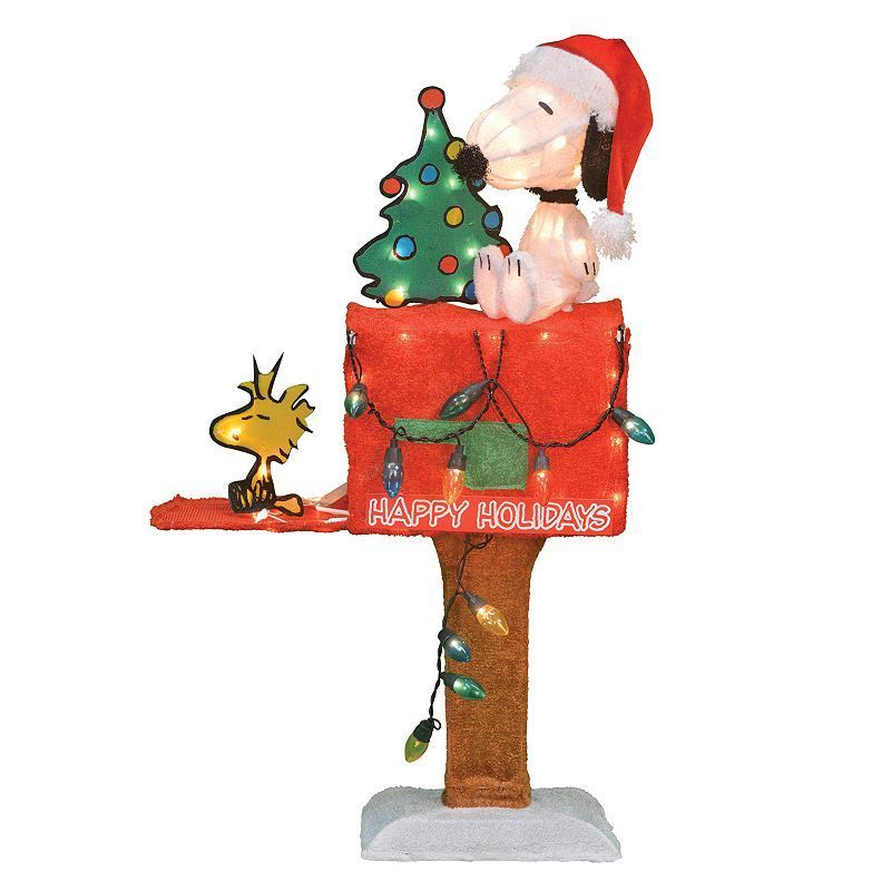 Light-Up Peanuts Snoopy Mailbox Christmas Decor by Candy Cane Lane ...