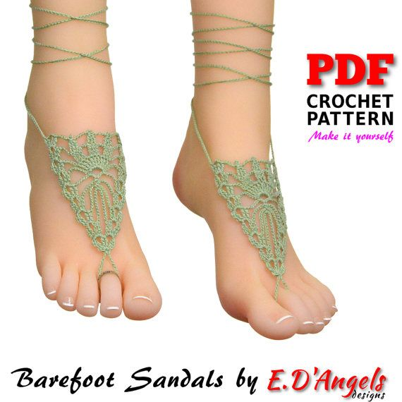 Crochet PATTERN Barefoot Sandals CROWN. This listing is for a PDF ...