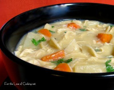 Creamy Roasted Chicken Noodle Soup From Www Fortheloveofcooking Net Made With Evaporated Milk Chicken Noodle Chicken Noodle Soup Crock Pot Soup Recipes