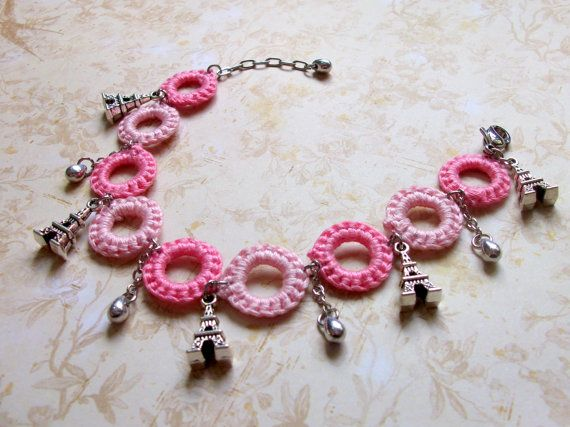 crocheted charm bracelet