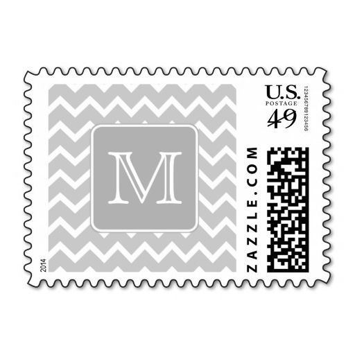 Gray And White Zigzags With Custom Monogram Postage  Gray The O