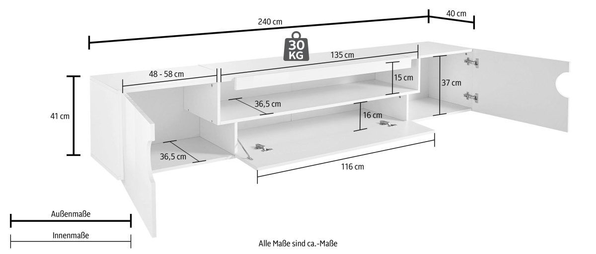 TECNOS Lowboard weiß, »Real«, Hochglanz, FSC®-zertifiziert Jetzt