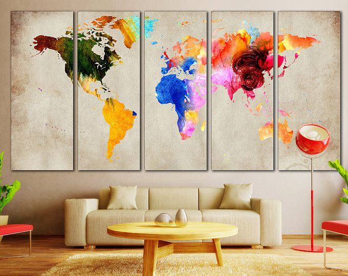 Browse unique items from zellartco on etsy a global marketplace of colorful world map art extra large 5 panel canvas par zellartco gumiabroncs Image collections