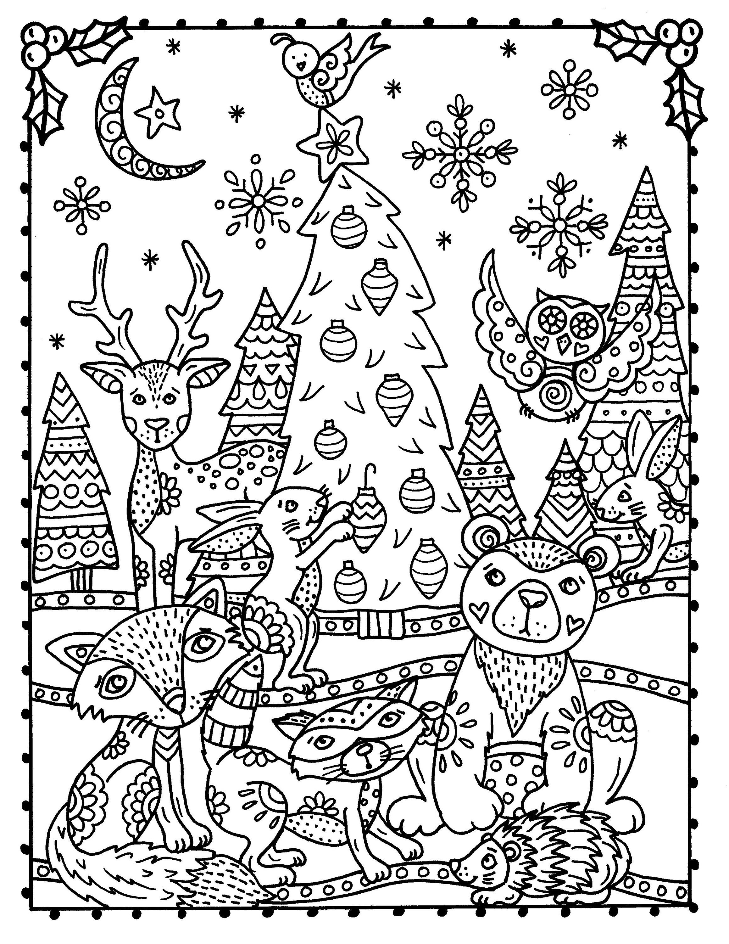 Winter Woodland Wonderland Coloring Book Digital Printable Etsy Coloring Books Animal Coloring Pages Abstract Coloring Pages