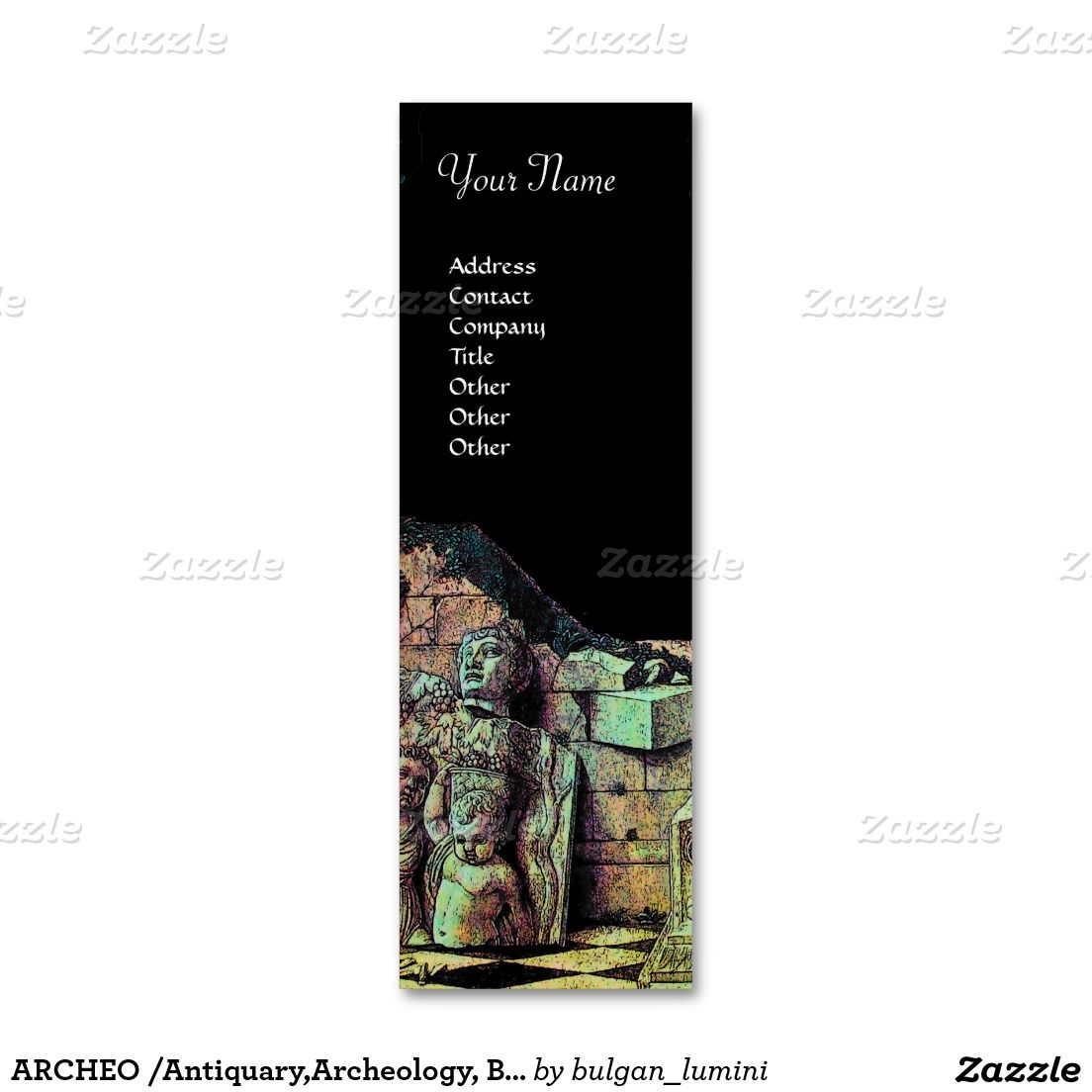 ARCHEO /Antiquary,Archeology,Archaeologist, Black Pink Green Double-Sided Mini Business Cards (Pack Of 20)