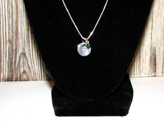 Sterling Silver Necklace, Initial Disc Necklace with Birthstone, Personalized Sterling Silver NECKLACE