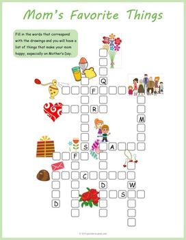 Mother S Day Crossword Puzzle Tea Party Games Puzzles For Kids