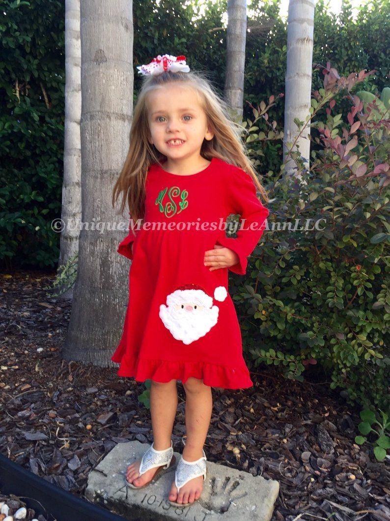 Monogram dress girls custom dress Personalized Girls Ruffle Dress
