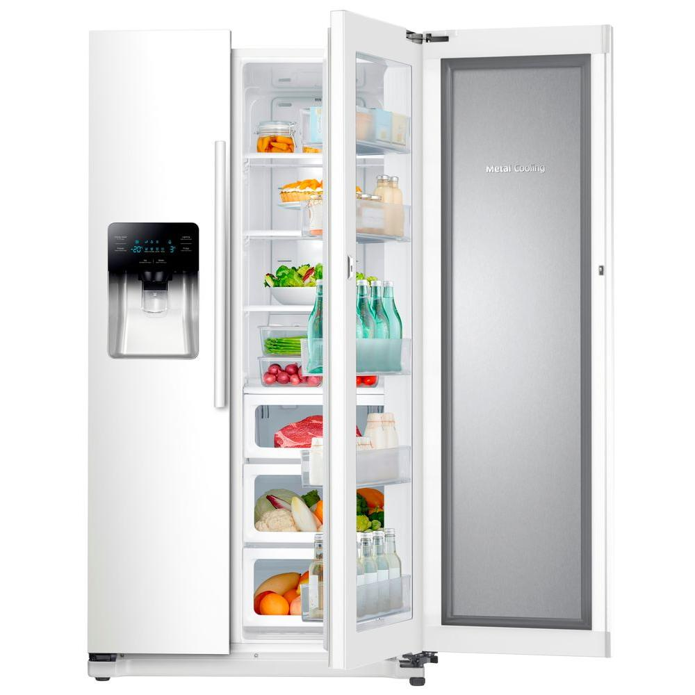 Samsung 24 7 Cu Ft Side By Side Refrigerator In White With Food Showcase Design Rh25h5611ww Side By Side Refrigerator White Refrigerator Refrigerator Sale