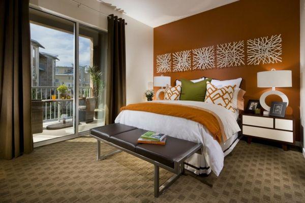 feng shui einrichten schlafzimmer bett schlafzimmer wand orange - schlafzimmer einrichten braun
