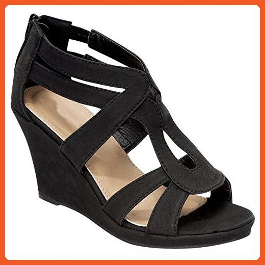 a38c16d6e5fe3 Fashion Shoes Womens Strappy Wedge Sandals, Black, 6 - Sandals for ...