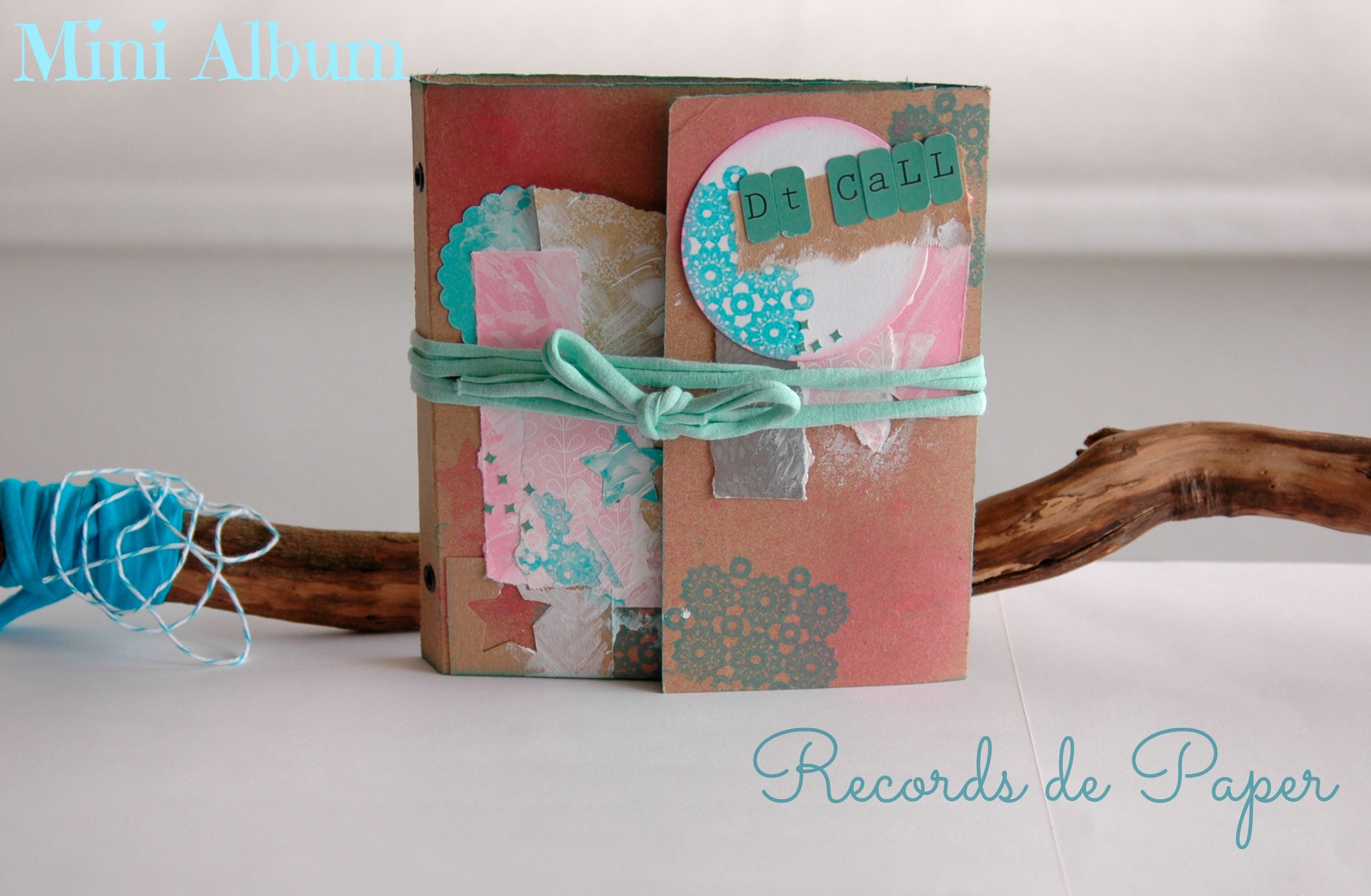 mini álbum scrapbooking, pink, turquoise and brown