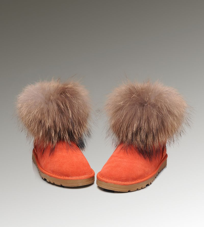 077873f6176 UGG Mini Fox Fur 5854 Orange Boots | Women UGG Fox Fur Boots | Uggs ...