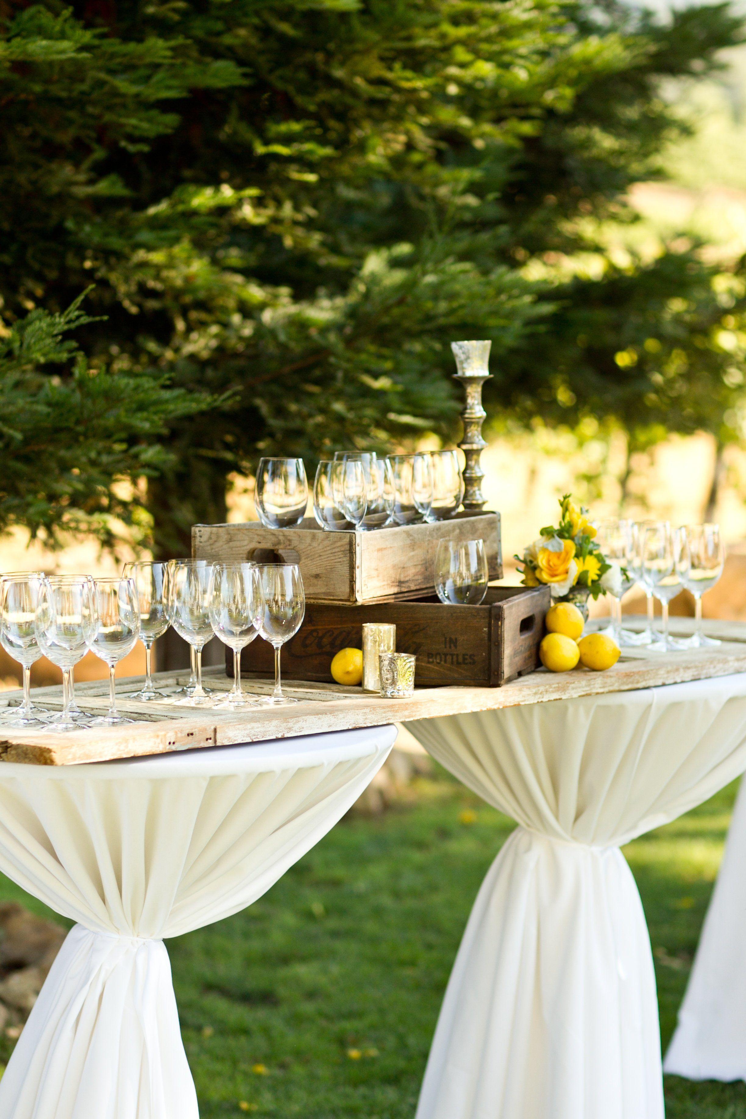 Table idea. Rustic Cocktail Hour Decor | Wedding Planning ...