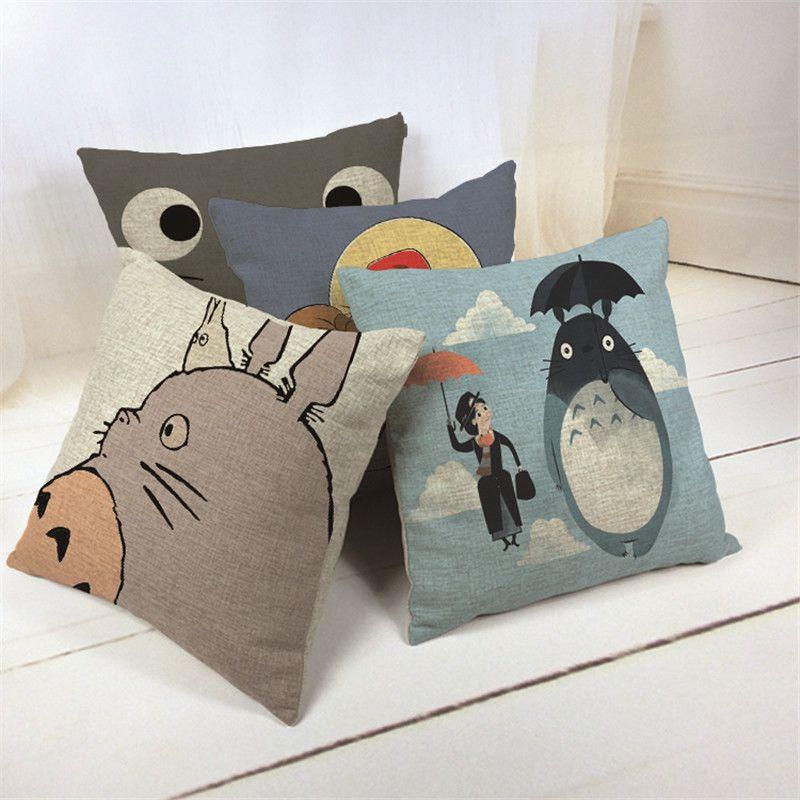Hayao Miyazaki Style 45*45cm Home Decorative Pillow Totoro Printed Throw  Pillowu2026