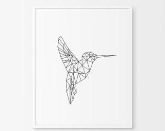 geometric animal hummingbird print printable nursery art hummingbird art hummingbird wall. Black Bedroom Furniture Sets. Home Design Ideas