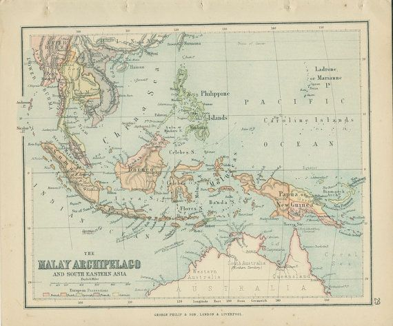 Map Malay Archipelago South East Asia Victorian Antique Map - Victorian world map