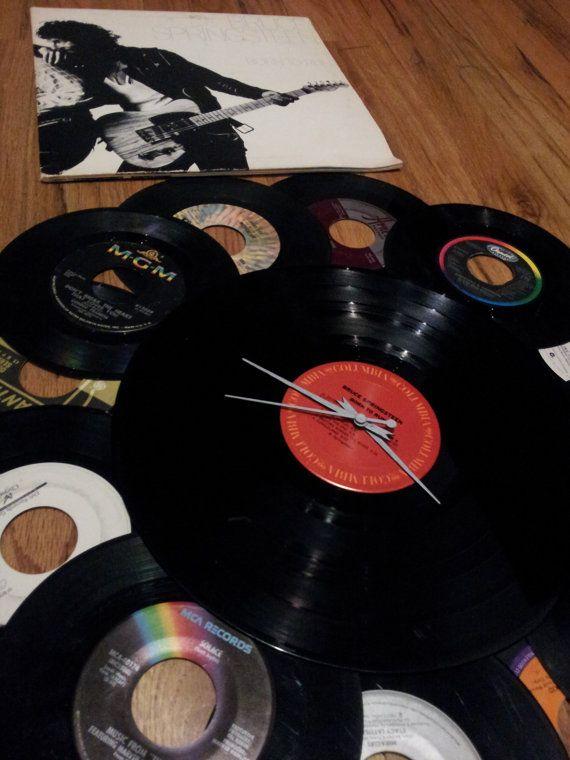 Bruce Springsteen Born To Run Vinyl Record Clock By Anniegodiy 35 00 Vinyl Record Clock Record Clock Vinyl Records
