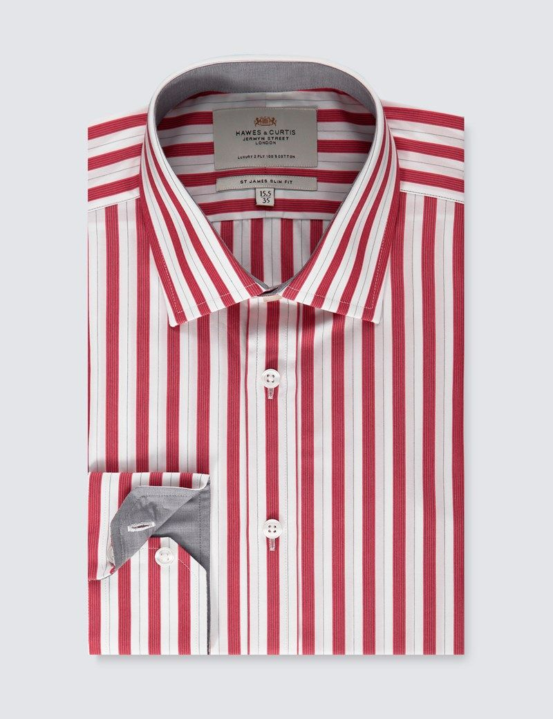 Mens Red White Bold Stripe Slim Fit Dress Shirt With Contrast