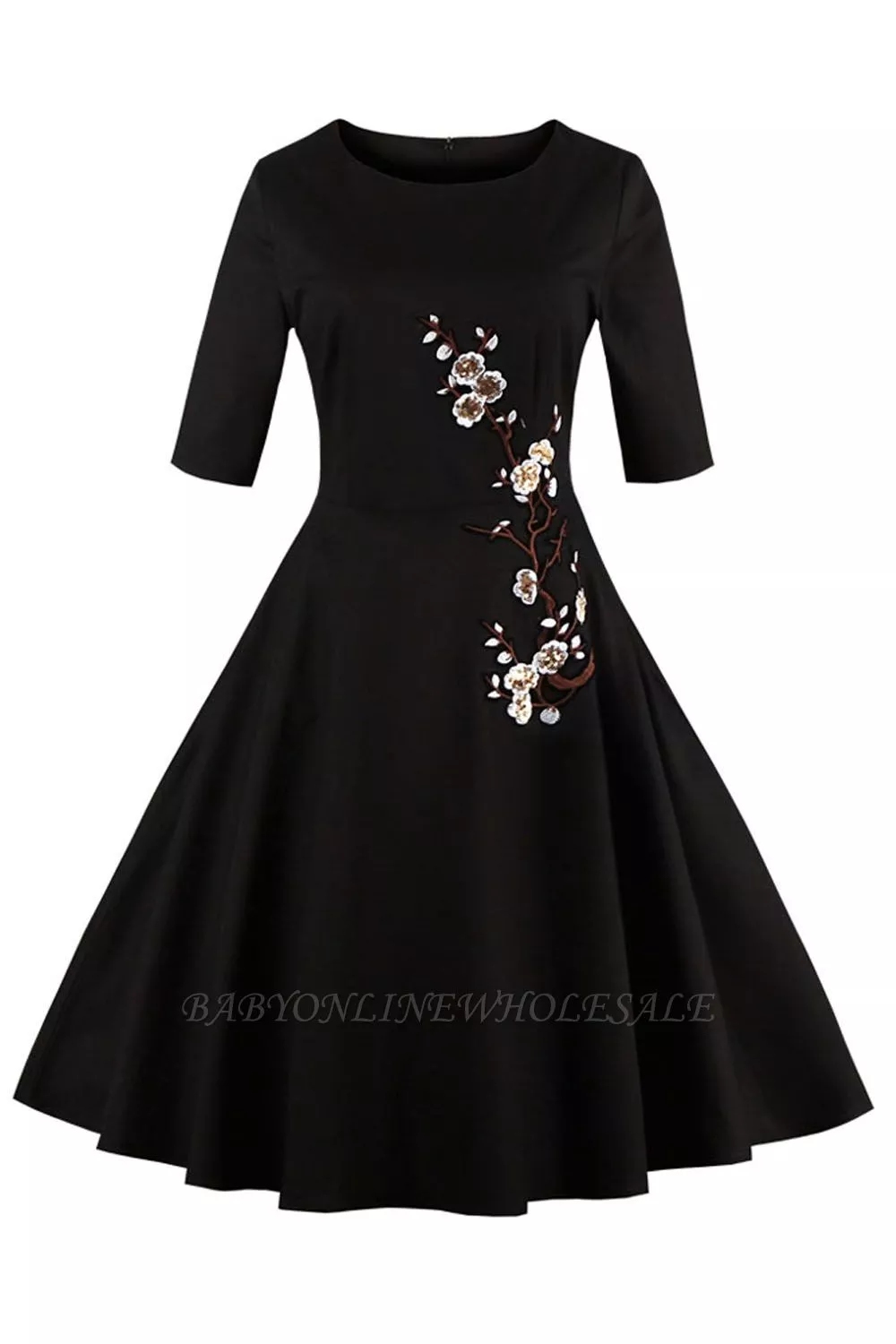 1 2 Sleeve Black Dress With Embroidered Flowers Clearance Sale And Free Shipping Black Dress With Sleeves Dresses Black Dress [ 1500 x 1000 Pixel ]