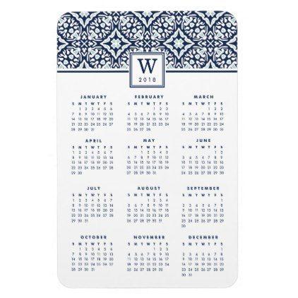 Calendar Sample Design Mediterranean Monogram 2018 Calendar Magnet