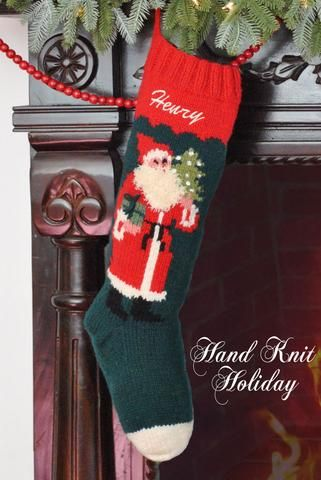 Saint Nicholas Hand Knit Wool Christmas Stocking | Christmas ...