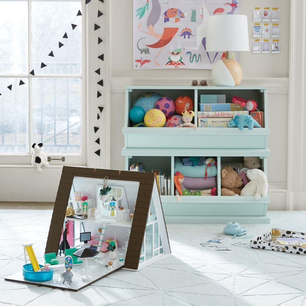 Light Blue 3 Bin Storagepalooza The Land Of Nod Playroom