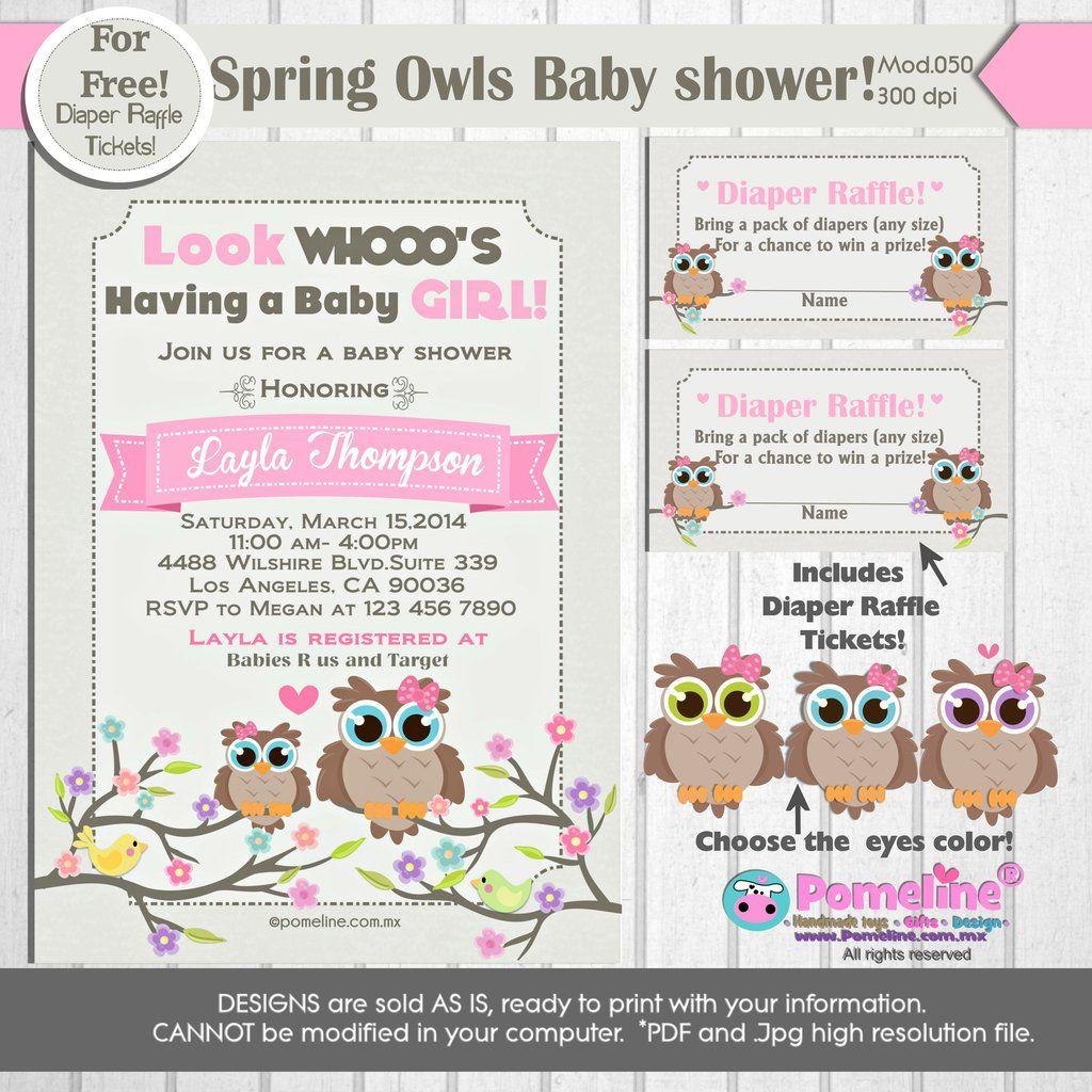 PRINTABLE Little Owl Baby shower Invitation ||FREE diaper raffle ...