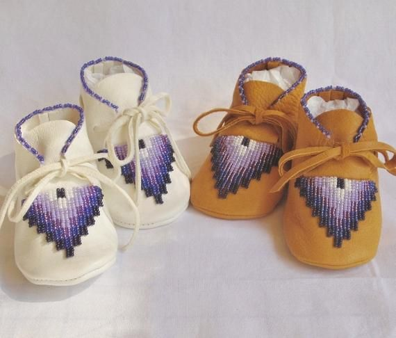 Purple Lavender White Beaded Baby Moccasins Mothers Day Gift Girls Birthday Soft Soled Shoes Native American Leather