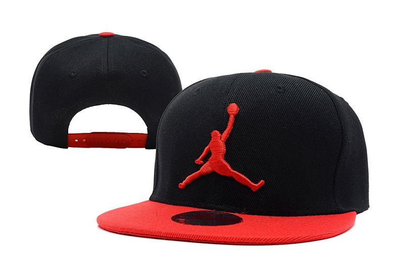 black and red jordan snapback