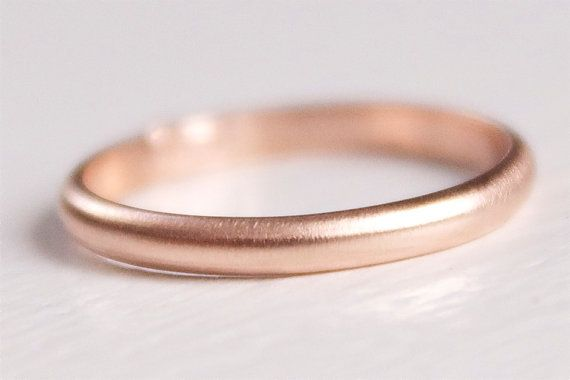 Recycled 14k Rose Gold Band Simple Modern Brushed Wedding Stacking Ring 2mm X 1mm