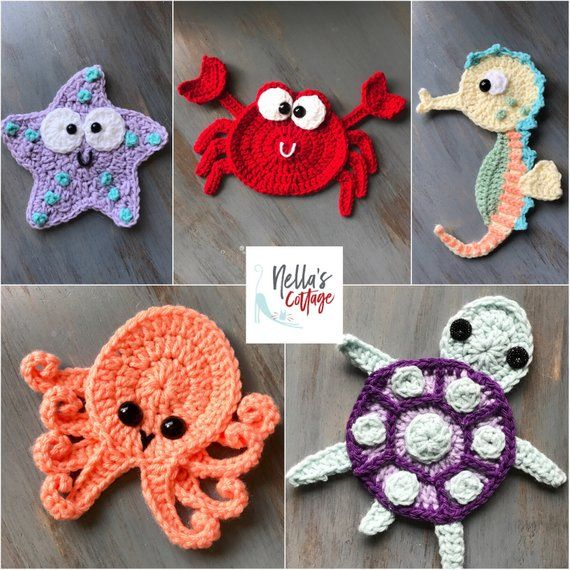 Crochet Pattern - INSTANT DOWNLOAD - Crochet Pattern - Crochet - Octopus - Seahorse - Turtle - Starfish - Crab - Patterns - Baby #afghanpatterns