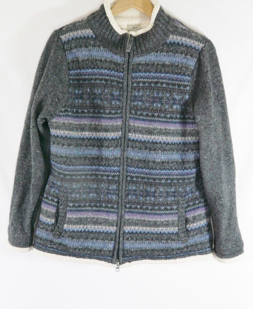 Womens L L Bean Fair Isle Sweater Jacket Sherpa Fleece Lining Zip ...