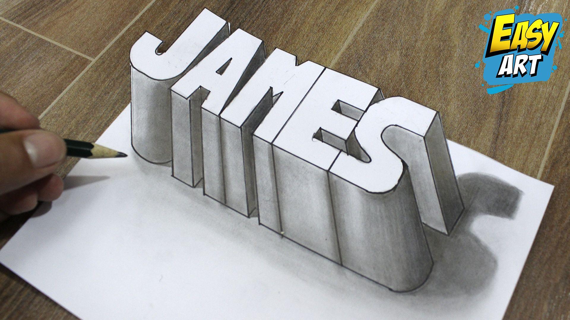 Como Dibujar Nombres 3d James 3d How To Draw Names 3d Letras En 3d Abecedarios De Graffitis Dibujos A Lapiz Faciles