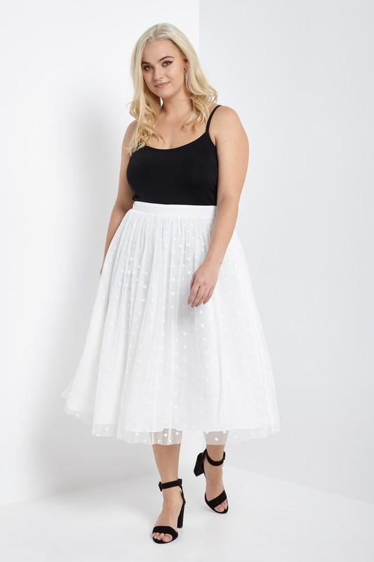 d158a192d05 Polka dot tulle midi skirt plus size Model is wearing a size 1X Model s  Profile  Height  5 9