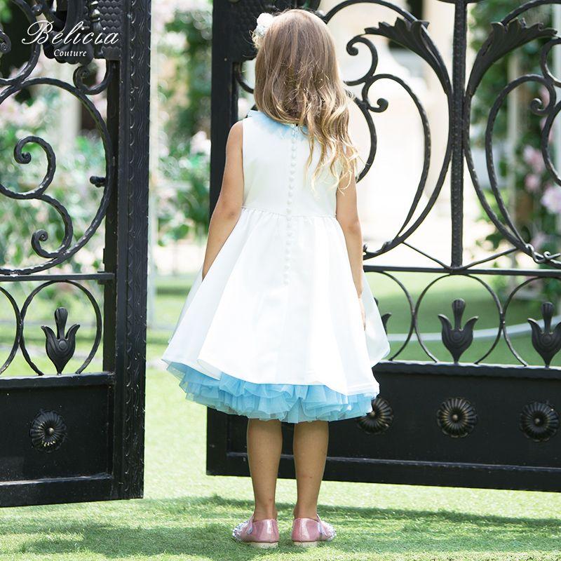 07c56095c31 Belicia Couture Flower Girl Dress For Weddings Write Sleeveless Knee length  Children First Communion Dresses for