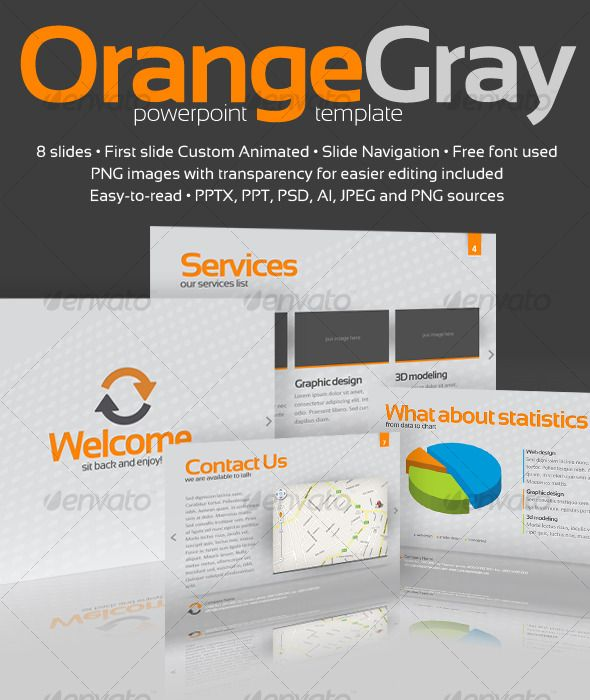 Orange gray powerpoint template orange grey template and ppt file orange gray powerpoint template pronofoot35fo Images