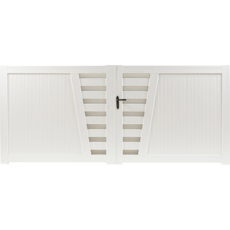 Mousse Sur Portail Pvc portail battant pvc cedrela blanc, l.350 cm x h.130 cm en
