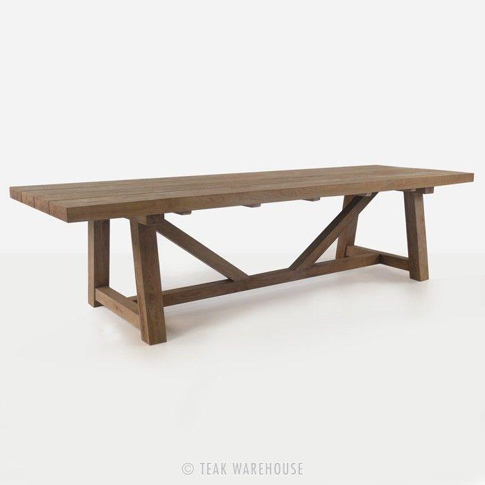 78 Or 98 L Teak Warehouse Trestle Table Reclaimed Teak With