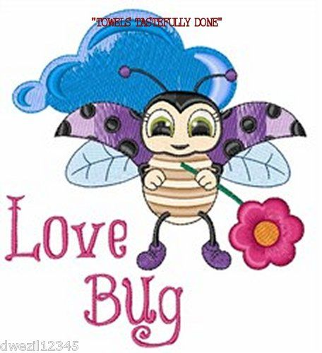 DARLING LADYBUG LOVE BUG - 2 EMBROIDERED HAND TOWELS by Susan