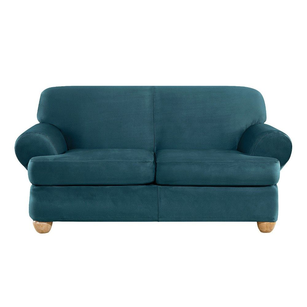 Ultimate Stretch Suede 3pc T Loveseat Slipcover Peacock
